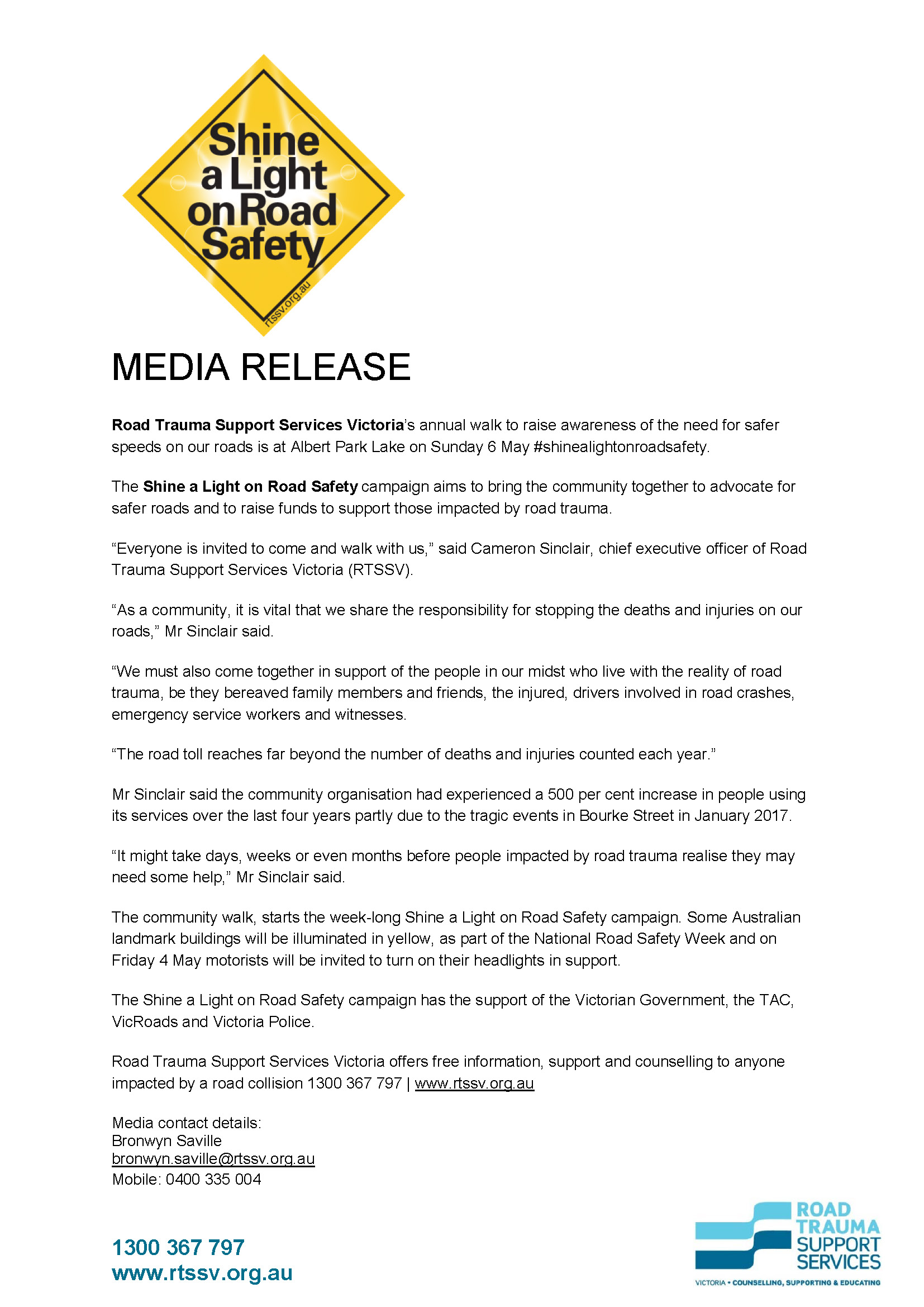 Shine a light on road safety tools rtssv road trauma support rtssvshinealightonroadsafetymediarelease2018page1 fandeluxe Image collections